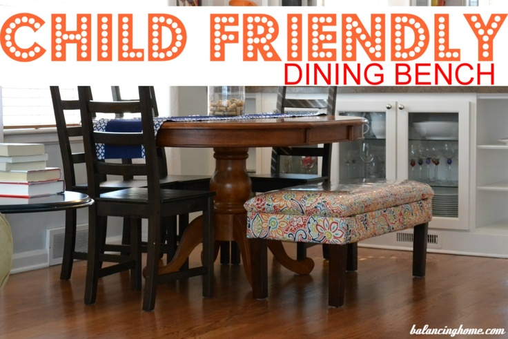 Upholstered bench gets reupholstered and turned into child-friendly seating for the kitchen table.