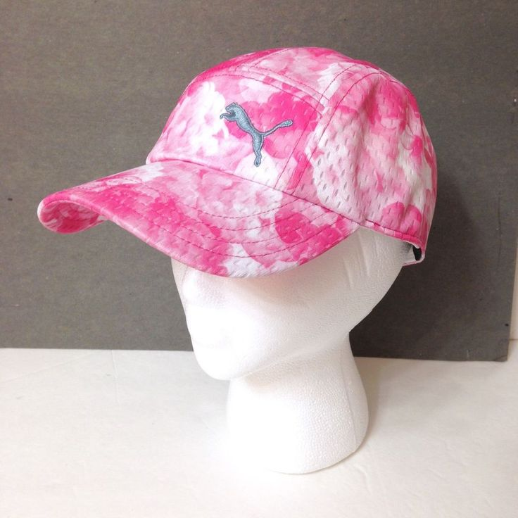 Women PUMA GOLF FIVE PANEL HAT Ladies Dry Cell Athletic Fit Mesh Pink Floral 5 #PUMA #BaseballCap #Golf