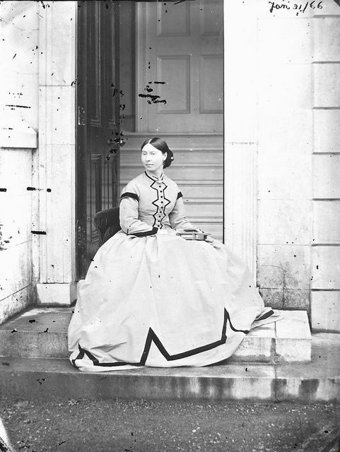 A beautifully dressed lady named Augusta Congreve photographed at the side entrance of Clonbrock House, Ahascragh, Co. Galway, Ireland (January 31, 1866). #Victorian #portrait #women #1800s