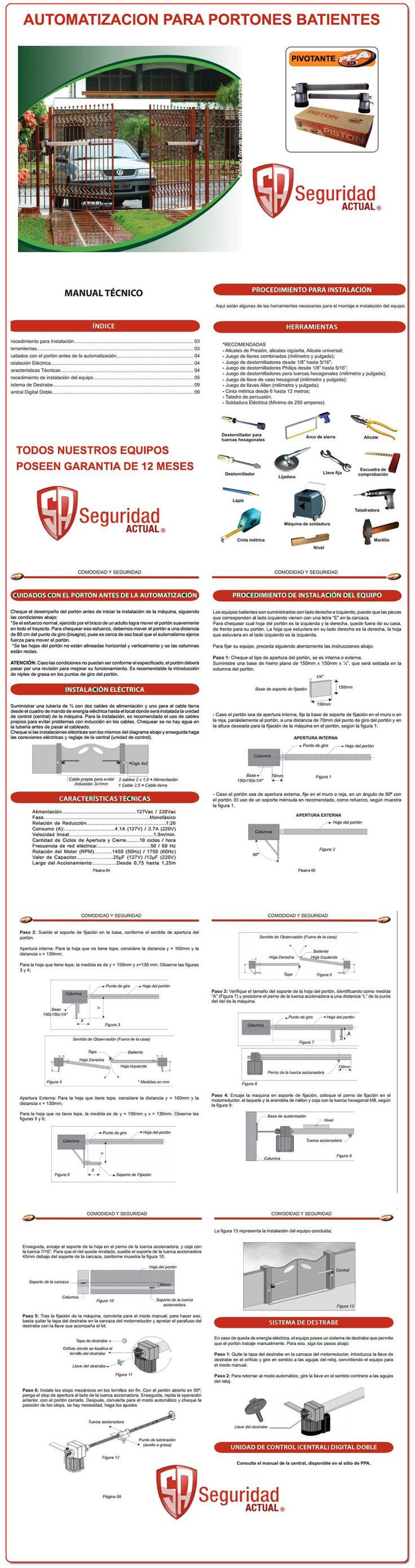 Seguridad Actual, Automatizacion de portones, corredizos, pivotantes, SEG, PPA, RCG