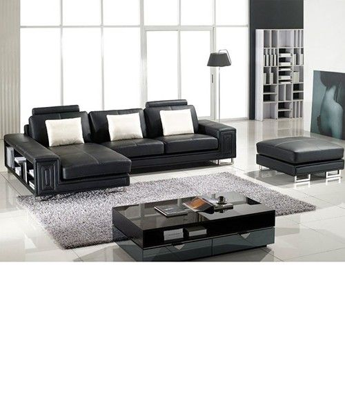 Black leather sectional sofa sale