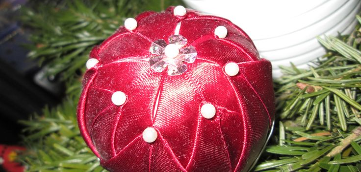 Handmade Quilted Christmas Ball Ornament - Red and pearls