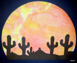 Tippytoe Crafts: Desert Sunsets maybe use black cutout of animals for safari/jungle