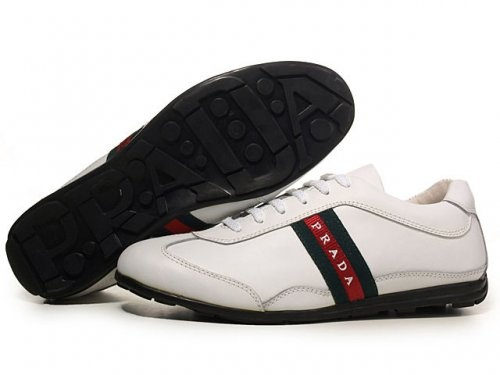 Prada Sneakers For Men White Blue Stripe