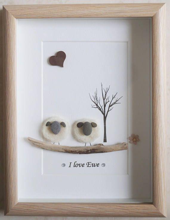 Pebble Art gerahmtes Bild – Schaf – Ich liebe Mutterschaf   – Steinbilder