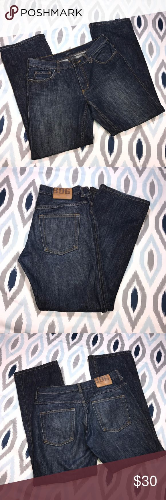 BDG Urban Outfitters Dark Wash Men's Bootcut Jeans * BDG Urban Outfitters Dark Wash Men's Bootcut Denim Jeans * Size 30x30 * Made of 100% cotton.  * Pre-owned, but in excellent used condition. No holes, stains or pilling.  * Measurements: Waist laying flat is 15 1/2 inches. Length is 38 inches. Inseam is 29 1/2 inches. Rise is 9 inches. Urban Outfitters Jeans Bootcut