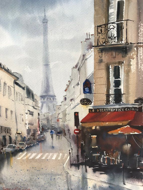 Cafe In Paris Watercolor Painting Original Artwork Eiffel Tower