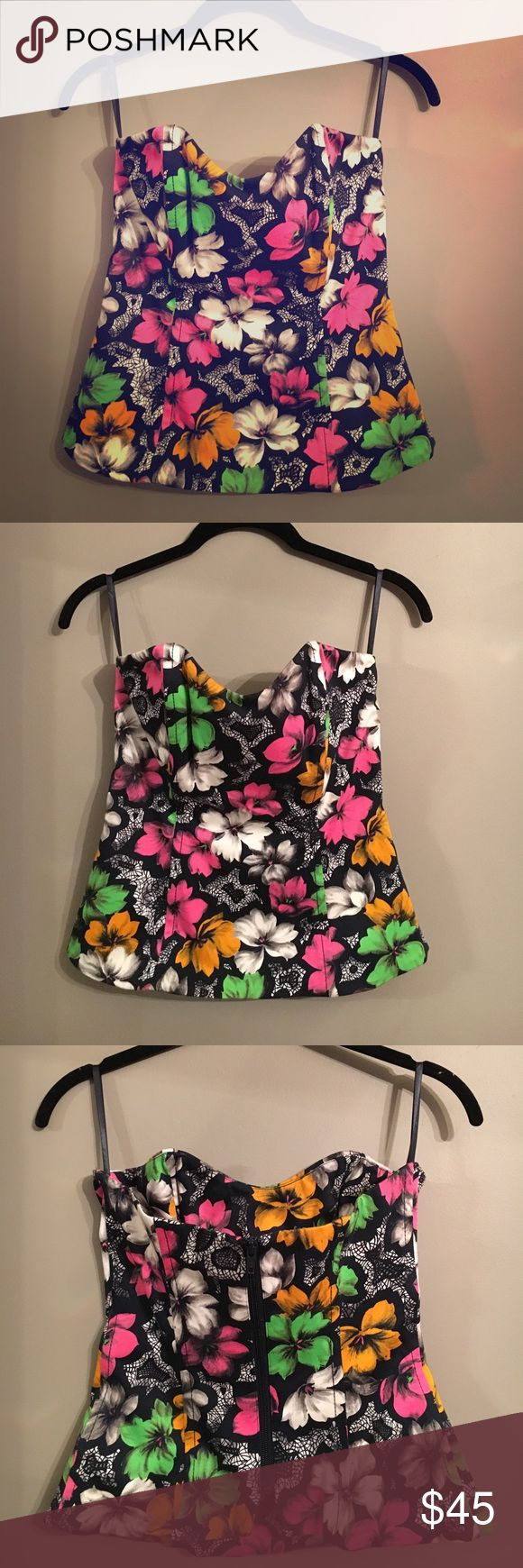 French Connection Floral Bustier Top French Connection Floral Bustier Top - Size 6 French Connection Tops