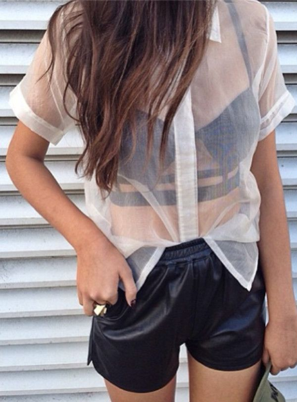 Shirt: shorts clothes bralette leather sheer cropped bralette leather short black white dress tank
