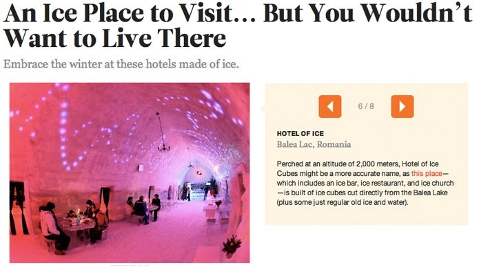 Ice Hotel Romania and Untravelled Paths featured in Conde Nast Traveler, 5th January 2012.  untravelledpaths.com