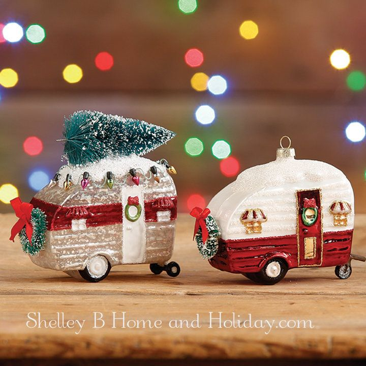 retro vintage camper glass Christmas ornaments. RAZ The Tree Lot collection at Shelley B Home and Holiday