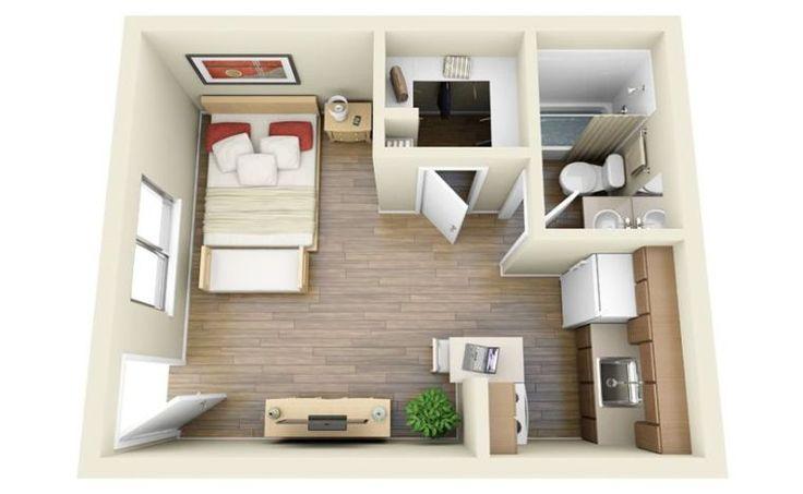 plan appartement studio petit espace avec cuisine et mur de séparation