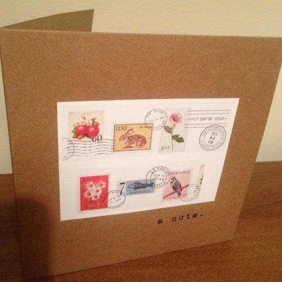 Vintage Style Shabby Chic note or happy birthday card - vintage stamp print - hand made on Etsy, £2.50