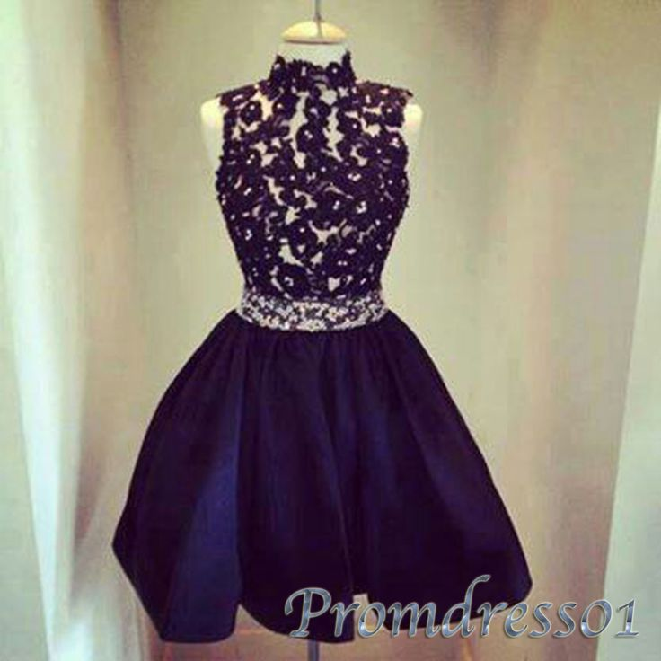 Cute high neck blue lace satin short prom dress for teens, party dress 2016 #coniefox