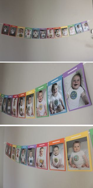 Take all of the monthly pics and make into a banner/ hang for a birthday party/ wedding of pictures of them from babies to current age  could do this at first bday party