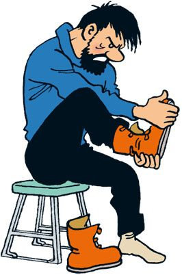 Les Aventures de Tintin - Capitaine Haddock. Ligne claire. Note how the character's proportions are built.