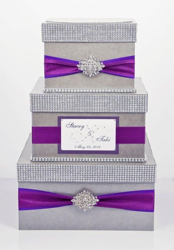 card box - wedding - purple and fuchsia