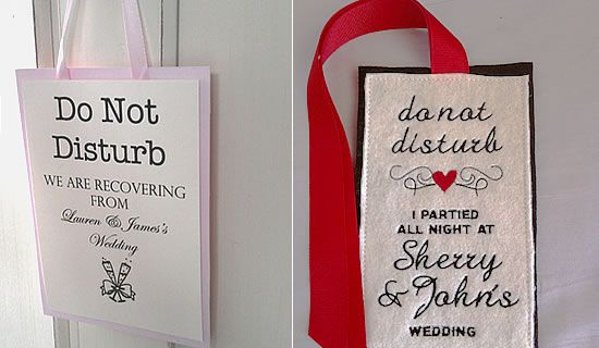 écriteau souvenir mariage pour hôtel... sympa !