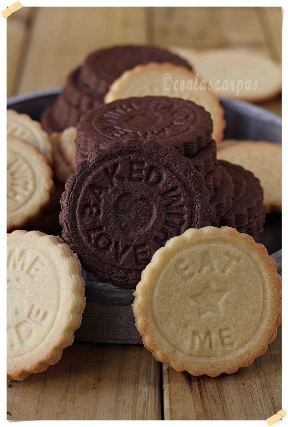 Galletas danesas de mantequilla y de chocolate {by Paula, Con las Zarpas en la Masa}