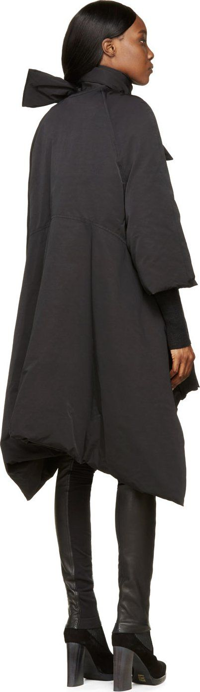Rick Owens Black Flared Duvet Scarf Coat
