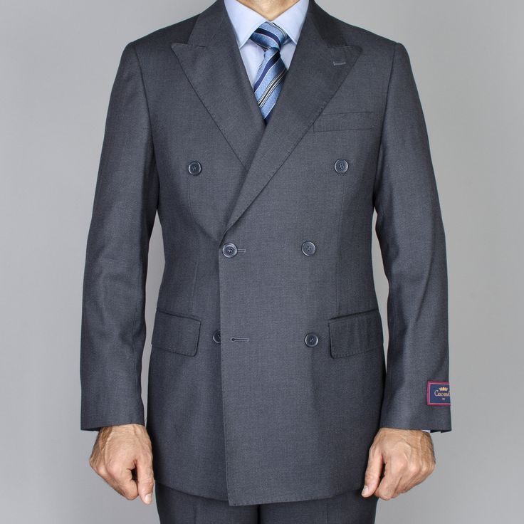 Men's Charcoal Grey Double Breasted Suit   Overstock™ Shopping - Big Discounts on Suits