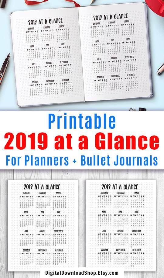 2019 Year At A Glance Printable This 2019 Calendar Printable Comes