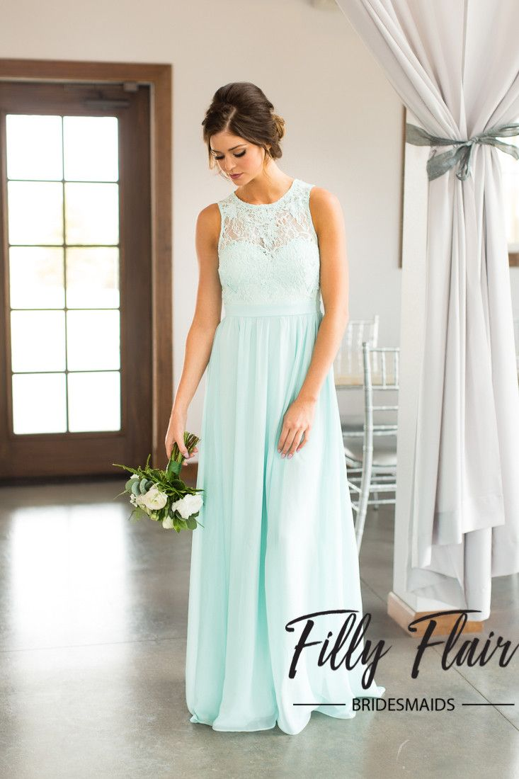 Gorgeous long lace bridesmaid dress in mint from Filly Flair.