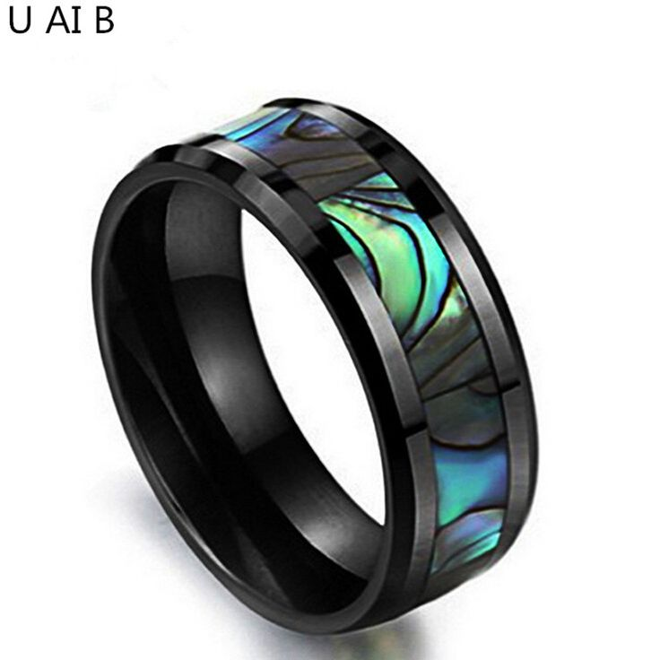 Korean jewelry natural shell black ceramic ring space designer jewelry brands shell men rings jewelry wholesale