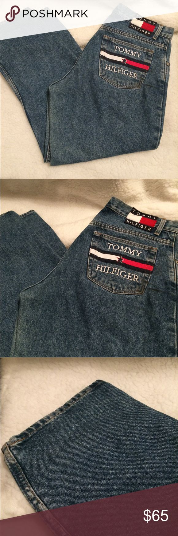 "Vintage 90's Tommy Hilfiger Women jeans size 14 Vintage 90  rare Tommy Hilfiger Women Wash Denim Blue Jeans size 14 Classic Tommy flag emblem present on right back pocket and on the back of the waist band. Button and zipper fastening. These jeans appear to be a straight leg fit - please see measurements below. Women's Size 14 100% Cotton. Approximate Measurements: Waist 36"" Inseam 25"" Outseam 34.5"" Front Rise 11"" Thigh 11.5"" Tommy Hilfiger Jeans Boot Cut"