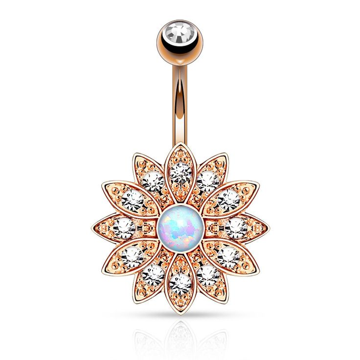 Gold Flower Crystal Paved Opal Belly Ring Navel Ring Body Jewelry Piercing