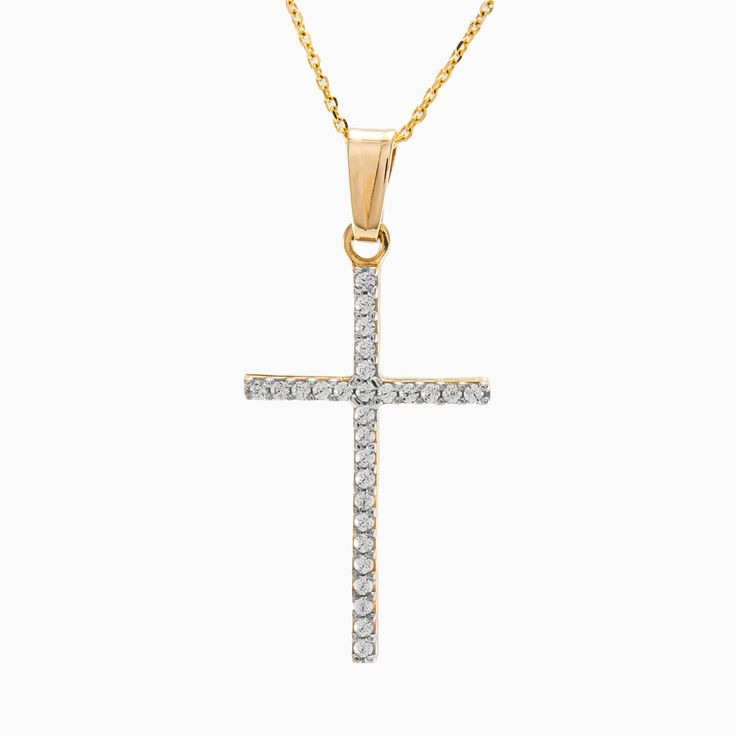 Elegant 14k yellow gold cross pendant, with one line sparkling, white crystals.