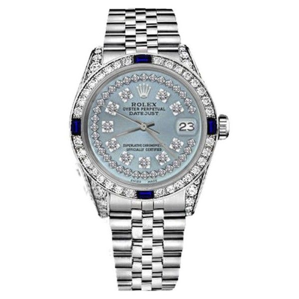 Pre-owned Rolex Datejust Stainless Steel Ice Blue String Dial With... ($4,999) ❤ liked on Polyvore featuring jewelry, watches, dial watches, rolex watches, rolex wrist watch, water resistant watches and pre owned jewelry