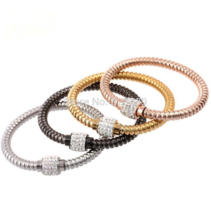 Мода элегантный стиль европы винтовые линии дрель браслет женская мода браслет из нержавеющей стали золотой
