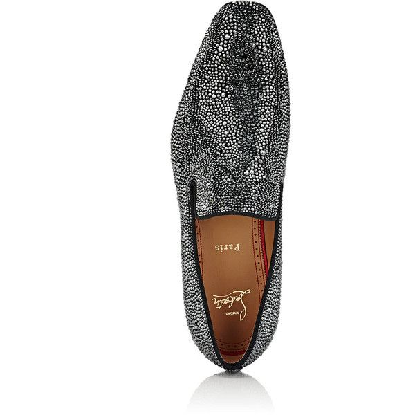 Christian Louboutin Men's Dandelion Strass Flat Suede Venetian Loafers ($3,795) ❤ liked on Polyvore featuring men's fashion, men's shoes, men's loafers, mens suede slip on shoes, mens slip on shoes, mens loafers, mens flat shoes and mens suede loafers
