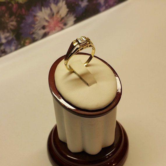 19 mm Vintage Ring Gold 585 Moissanit edel Vintage GR591