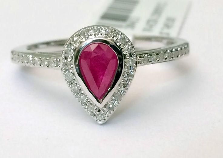 14k White Gold Pear Shape Bezel Set Halo REAL RUBY Ring $400