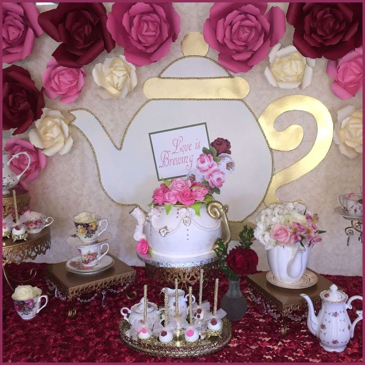 Tea party bridal shower party dessert table! See more party ideas at CatchMyParty.com!