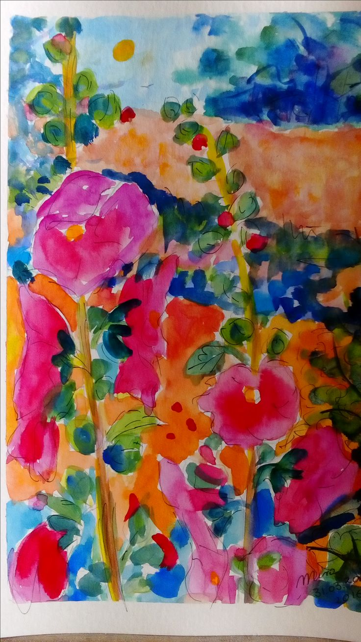 Hollyhocks summer country nature watercolor