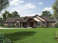034H-0230: Luxurious Craftsman House Plan with Split-Bedrooms and Flex Space; 3163 sf