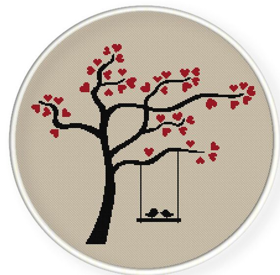 Cross stitch pattern tree heart birds