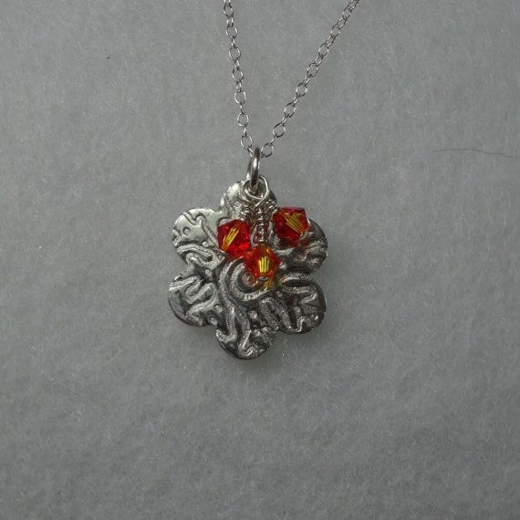 Flower pendant, Handmade fine silver with 3 Swarovski fire opal xilion charms