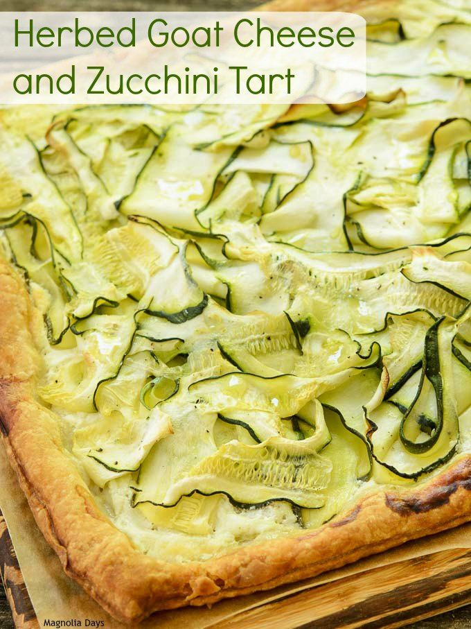 Herbed Goat Cheese and Zucchini Tart is an elegant meal that is a snap to make. It's puff pastry topped with goat cheese and zucchini ribbons.