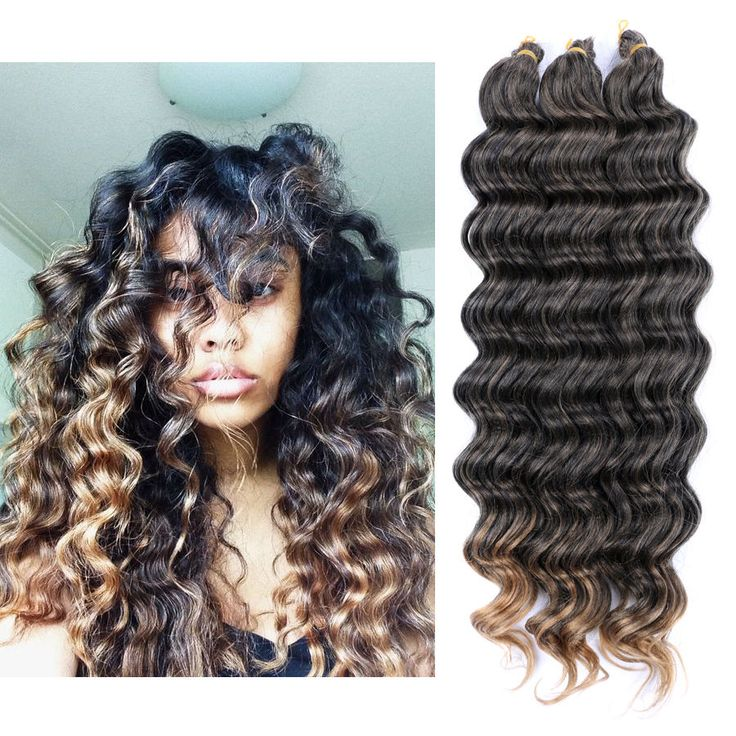 "22"" 80g Crochet Bulk Hair Weft Deep Wave Synthetic Hair Extension Crochet Braids 