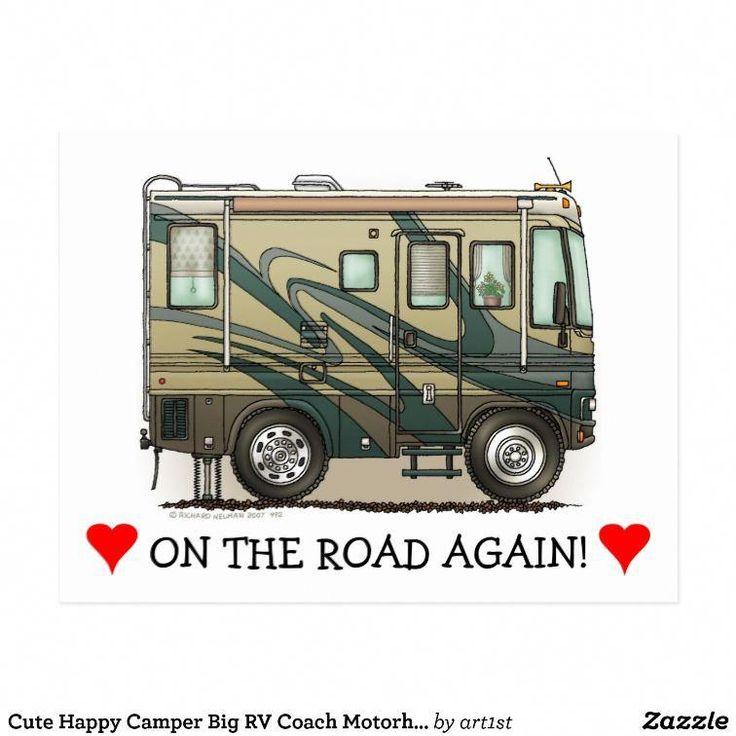 Cute happy camper big rv coach motorhome postcard zazzle