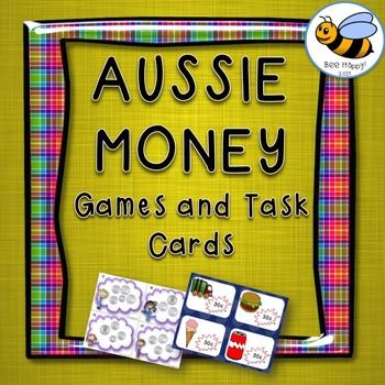 Australian Money Game, Scoot Game and Task CardsThis Australian money pack has 32 pages of games and activities. Included in the package:Lets Go Shopping  a card game where players roll a dice to determine how much money they collect from the bank OR they draw a shopping card and spend  their money.