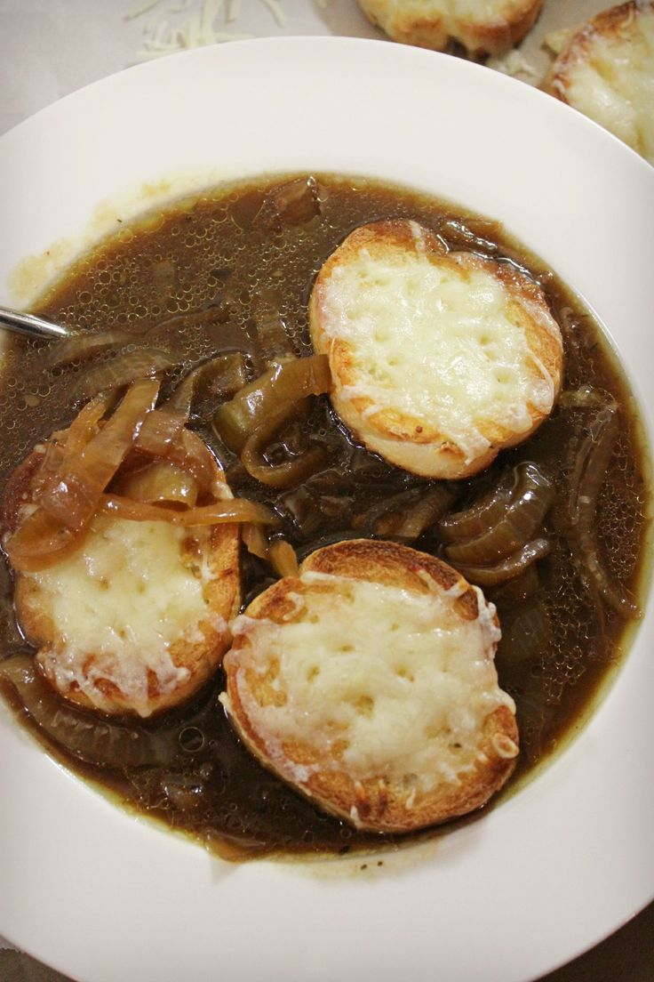Rich, delicious tasting French Onion Soup in the Slow Cooker uses beef bones for a meaty base and delivers true French Onion Soup flavor in your crockpot.