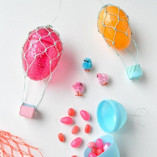 A hollow plastic egg is used as the balloon, so you can fill these up with candy and give them away as Easter presents!