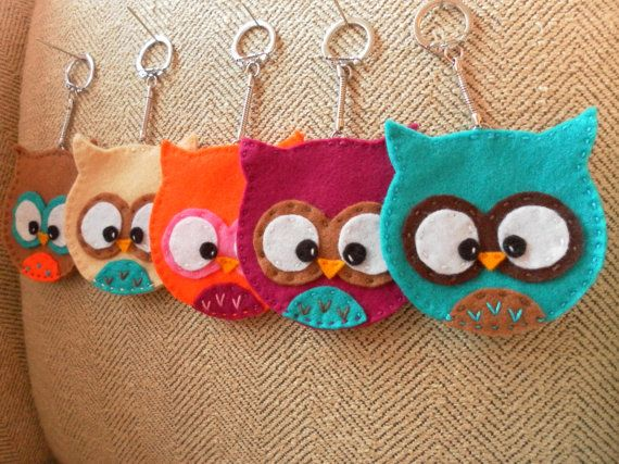 Felt Owl Keychains, make bigger for a change purse!