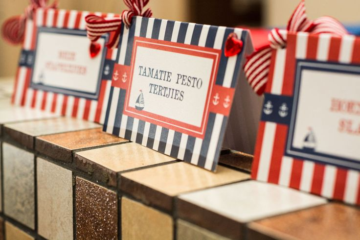 Red and Navy Sailor Themed Food Tents