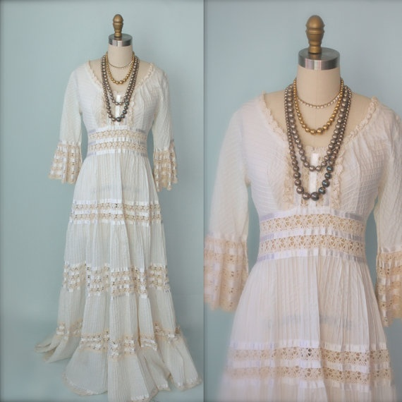 Lovely Vintage s Mexican Dress s Mexican Wedding by chiffonier